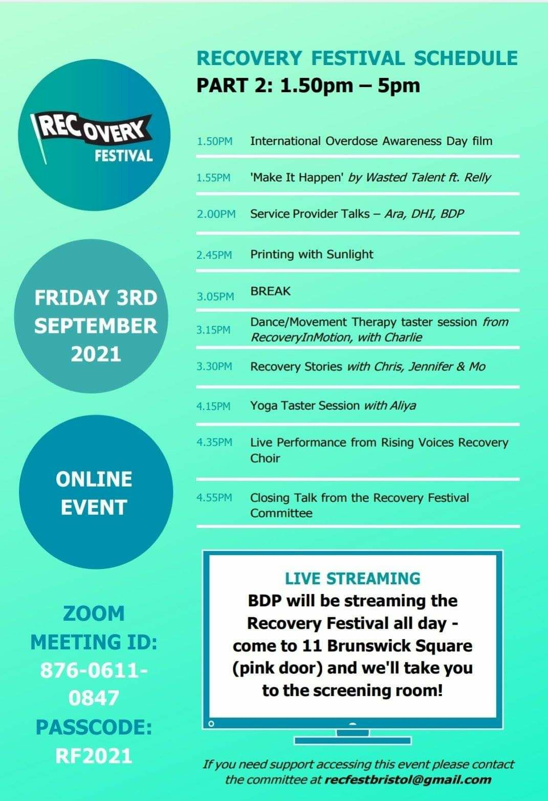 Bristol Recovery Festival Schedule part 2