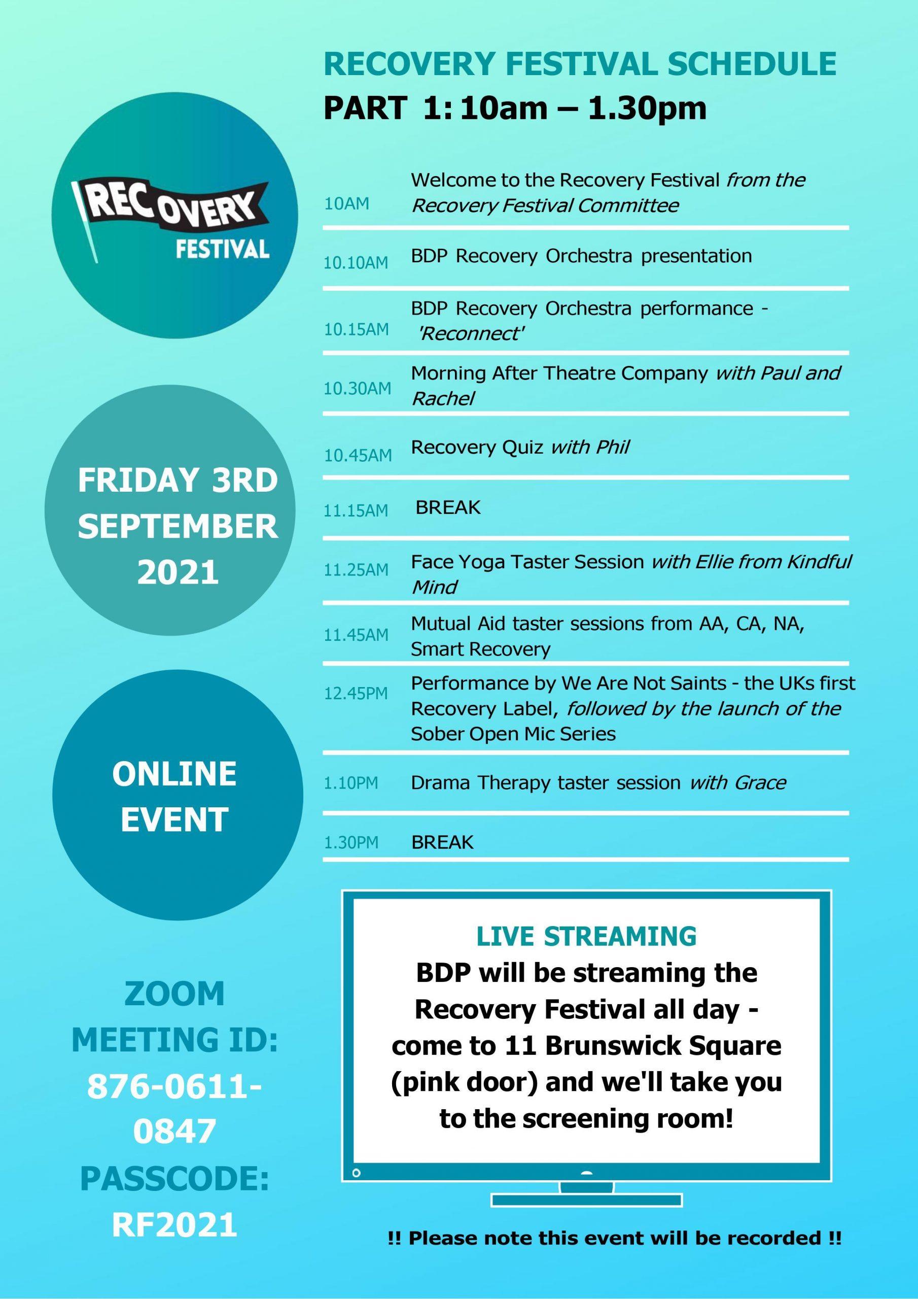Bristol Recovery Festival Schedule 2021